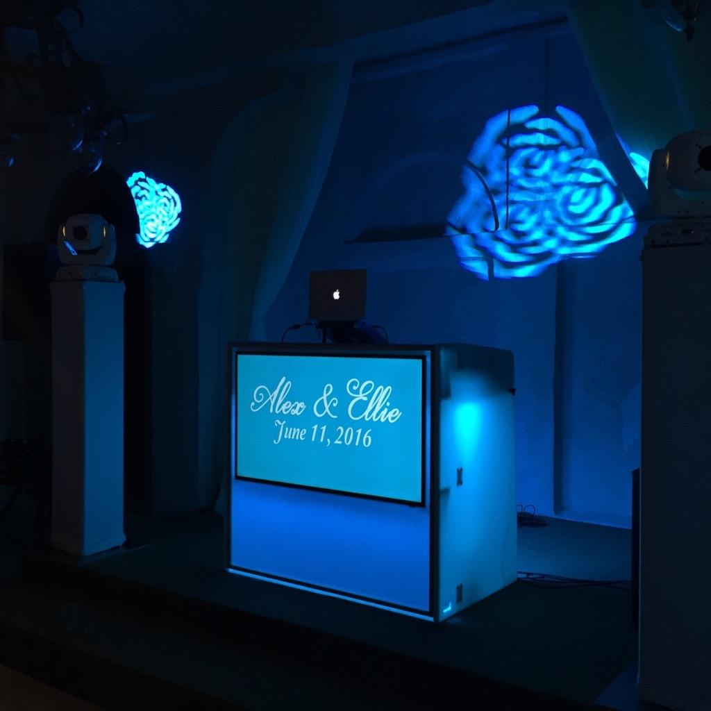 Best Austin DJs Custom Video Table with monogram at Villa Antonia