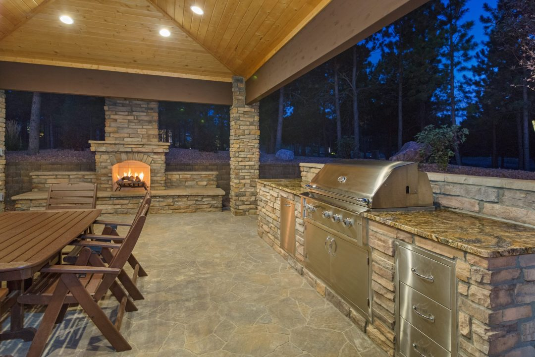 outdoor brick fireplace in Austin, Texas