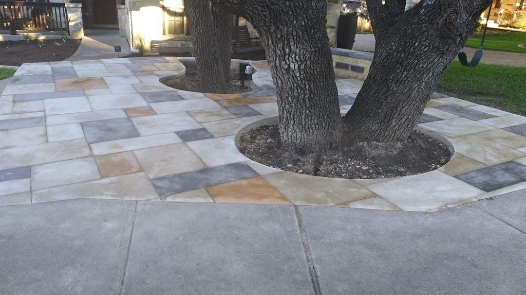 front yard patio installation in austin texas
