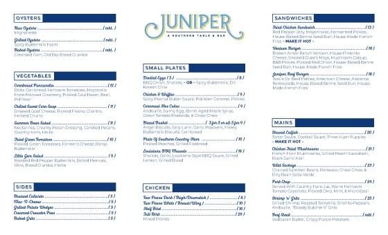 Printed menu.