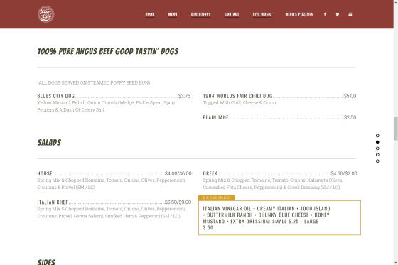 Online menu style.