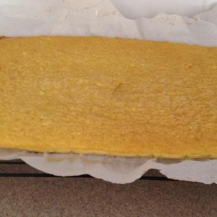 Genoise out of the oven and ready for cooling