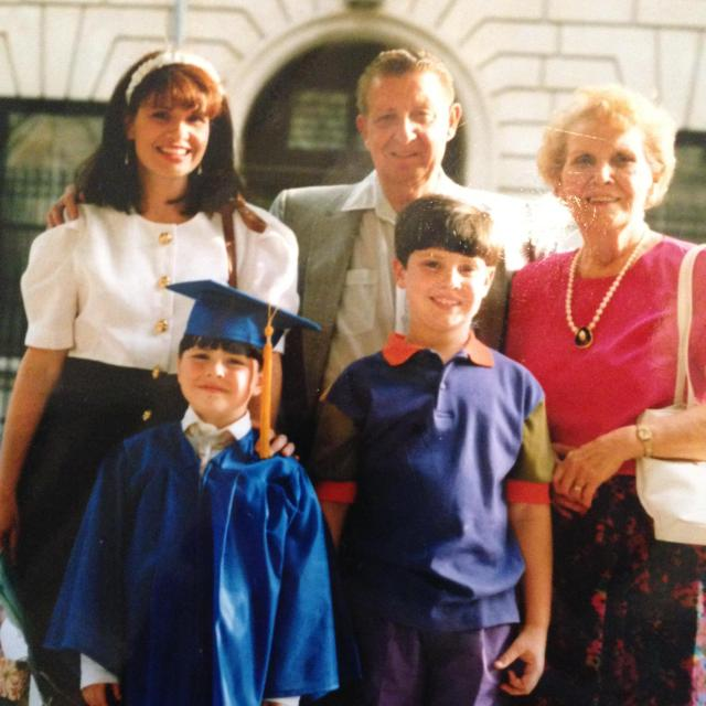 Alfie, helen jake and me Roman's kindergraduation 1991.