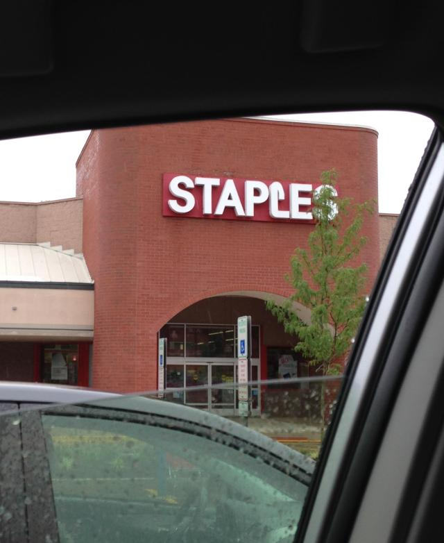 Staples in the rain