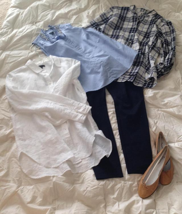 Casual. Navy Factory Gigi Pants, J. Crew white shirt. Old J. Crew embellished shirt (Factory I think) Factory plaid popover shirt.  Patent Repettos