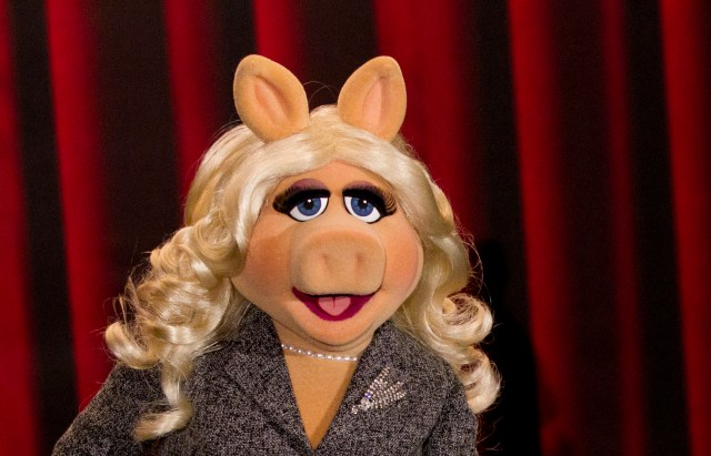 Muppet character Miss Piggy poses during a photocall promoting the movie 'The Muppets' in Berlin January 18, 2012. REUTERS/Thomas Peter (GERMANY - Tags: ENTERTAINMENT HEADSHOT) - RTR2WG5J