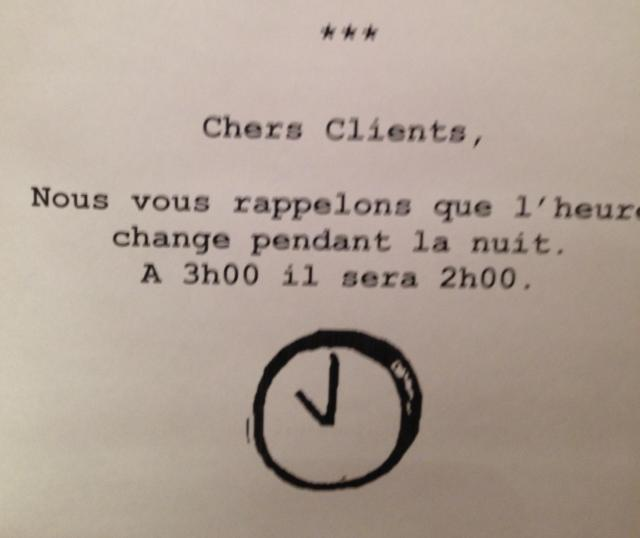 Paris. Time change notice!
