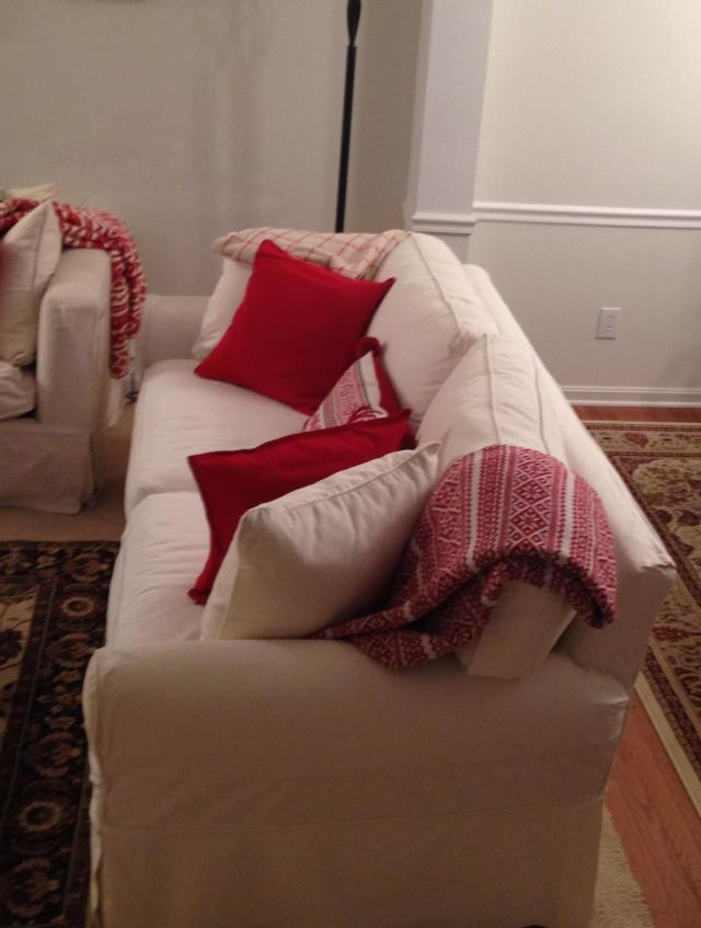 Decorations. Side view sofa with pillows and throw
