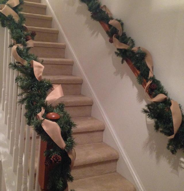 Decorations . Stairway with ribbon