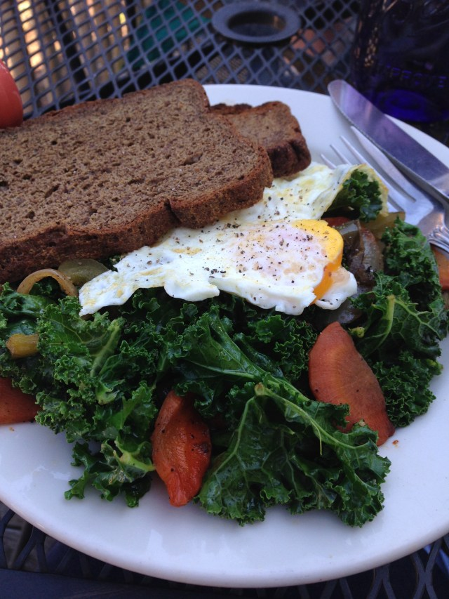 The Farmer's Table. Eggs Veg  Gluten free bread.