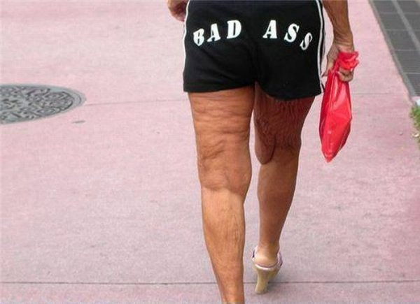 Old lady booty shorts