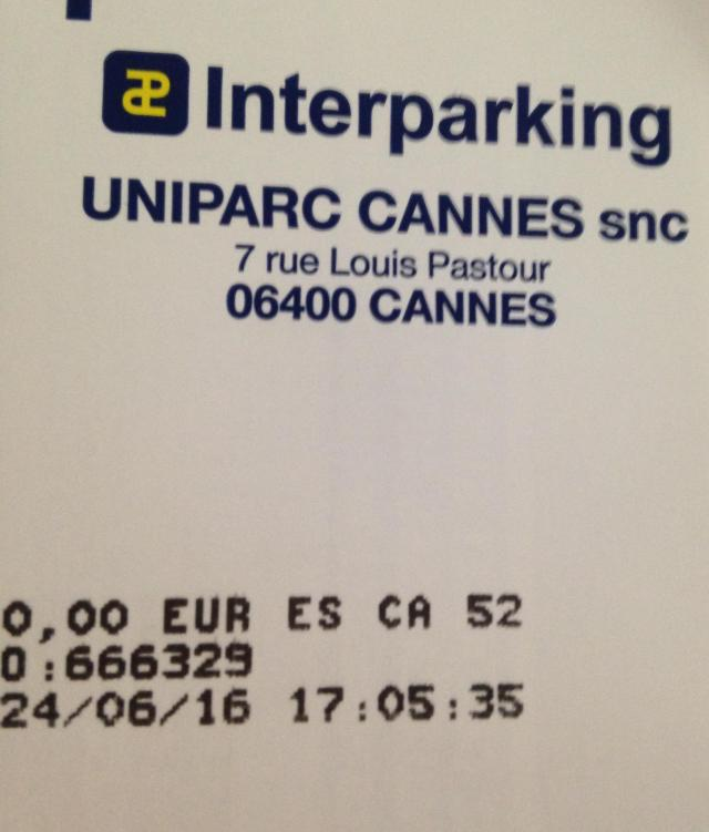 Cannes. Interparking ticket at Marche Forville. Free the first hour.