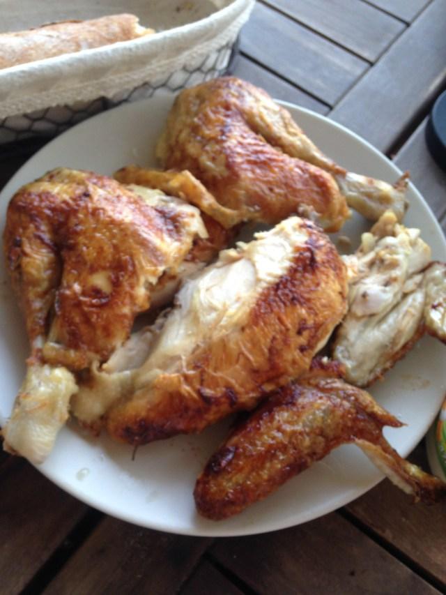 Food. Roast chicken on the terrace.