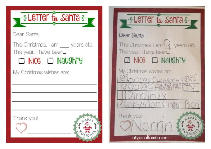 Letter to Santa Atypical Familia