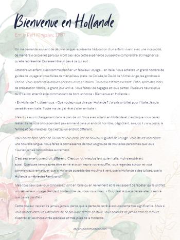 Emily Perl Kingsley traduit bien le voyage fait par les mères d'enfants différents. Pour la fête des Mères, offrez un câlin supplémentaire, un sourire plus doux et un mot d'amour à ces mamans qui vivent peut-être une journée plus particulière. #fetedesmeres #douceur #hollande #emilyperlkingsley #bienvenueenhollande #besoinsparticuliers
