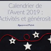 Calendrier de l'Avent 2019: Activités et générosité