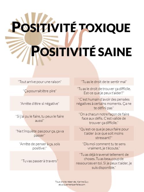 Positivité toxique vs positivité saine. Valider les émotions authentiques permet de lâcher prise plus facilement. PDF à imprimer. Outil gratuit. atypiquementparfaite.com