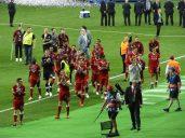 les joueurs du LFC après la finale perdue à Kiev