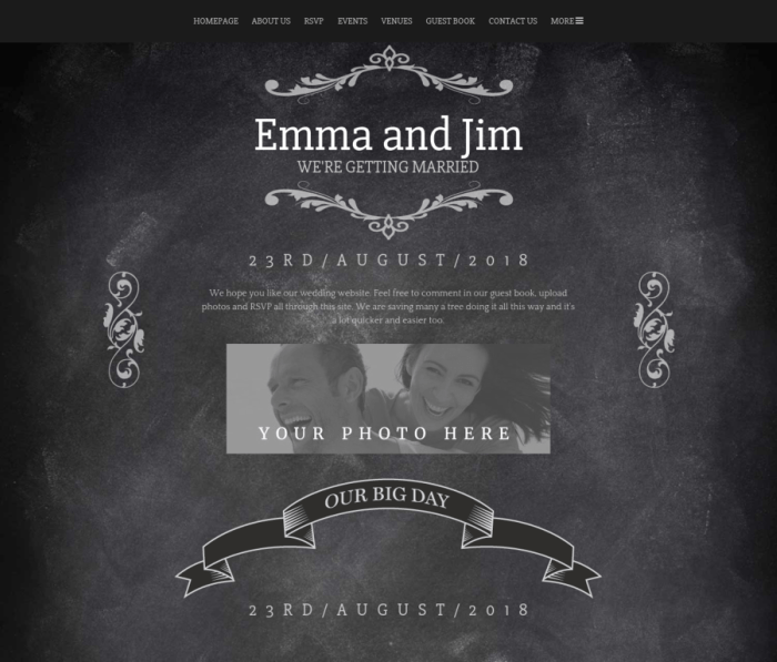 Wedding Website chalkboard
