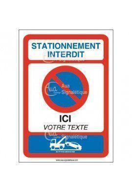 panneau stationnement interdit texte personnalisable vertical