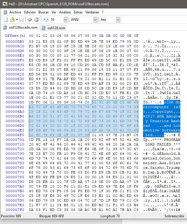 Como editar la ROM del CPC