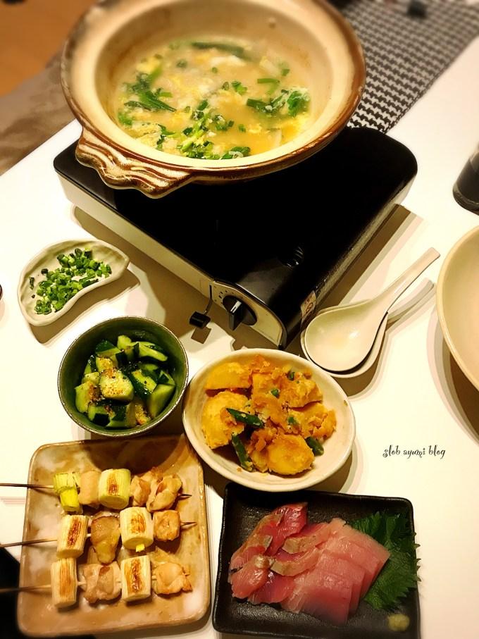 鍋の翌日の卵雑炊と付け合せおかずの献立レシピ