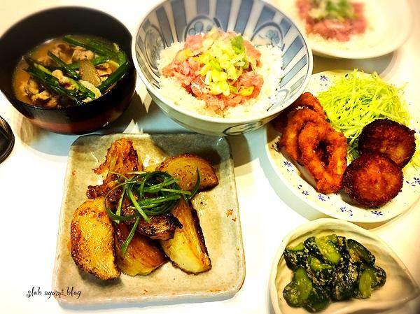 ネギトロ丼と韓国風豚汁&付け合せおかずの献立レシピ