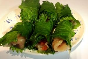 塩麹鶏の明太大葉巻き天のレシピ