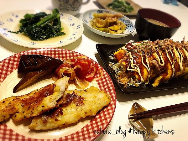 白身魚のチーズ風味ムニエルととん平焼きの献立レシピ