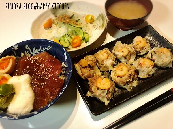 マグロの漬け丼と白滝入りヘルシー豆腐シュウマイのレシピ