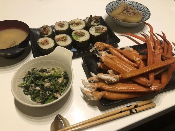 かにと巻き寿司の献立レシピ