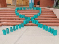 A display of blue ribbon for Sexual Assault Awareness (Photo: Jamie Sapp)