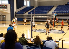 The Augusta University Jaguars prepare their next move as they play against the NGU Crusaders at the 2016 Augusta Volleyball Invitational on Sept. 10. (Photo: Jamie Sapp)