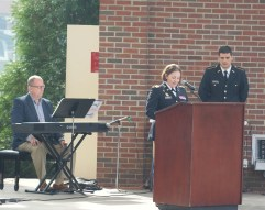 Lt. Col. Jessica Williss gives welcoming remarks at the Veterans Day ceremony. (Photo: Jamie Sapp)