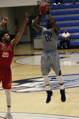 Here is senior basketball player Keshun Sherrill making the 2,000th point of his career on Jan. 18 at the PBC game against the Flagler College Saints in the Christenberry Fieldhouse. (Photo: Kait Fruechting)