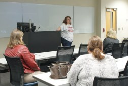 Dr. Ruth McClelland-Nugent, an associate professor in the department of history, gave closing remarks at the 2017 WGST Symposium on Mar. 18 in Allgood Hall. (Photo: Jamie Sapp)