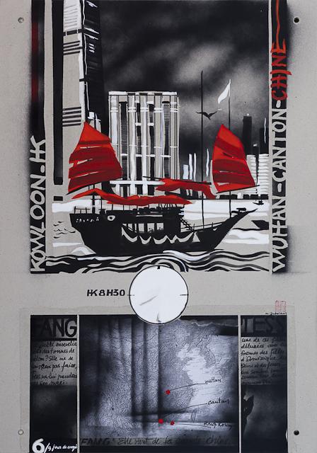 Jour de congé - N°4 - Techniques mixtes sur carton - Peinture de Michelle Auboiron d'après une nouvelle de Chantal Pelletier