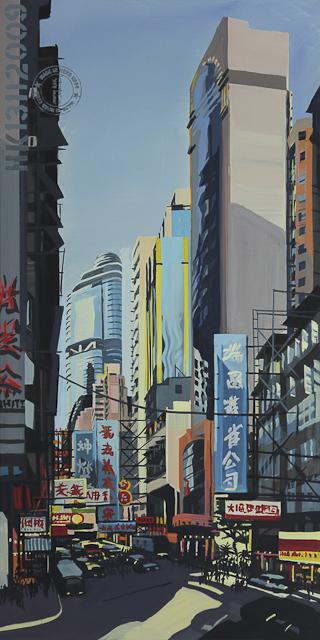 Peinture à Shanghai Street - Mongkok - Hong Kong - Une acrylique sur toile de Michelle Auboiron