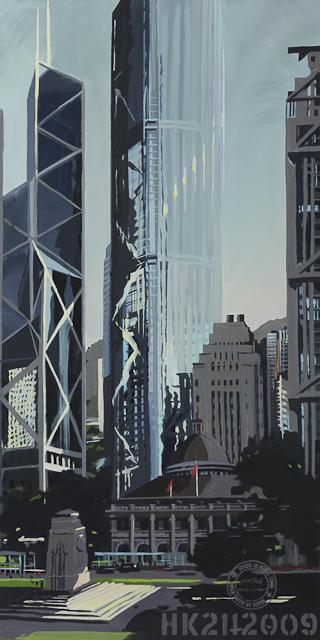 Hong KOng Central - Bank of China & Legislative Council - Une peinture de Michelle Auboiron