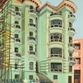 L'immeuble vert - Tableau de la Havane par Michelle Auboiron