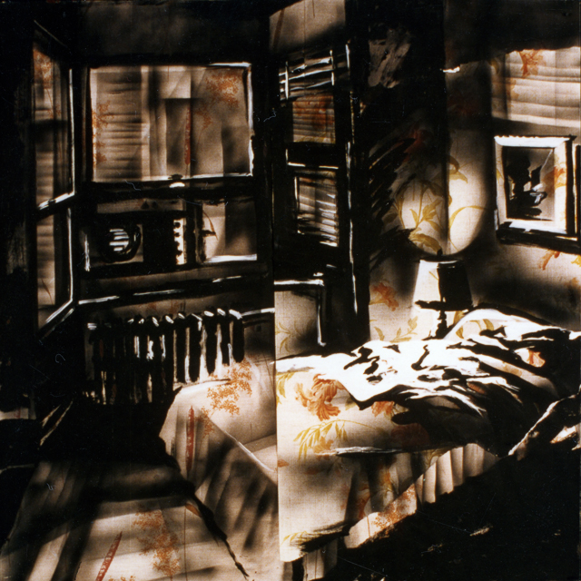 Peintures de Michelle Auboiron - Série Central Hôtel - Acrylique et bombe sur papier peint.