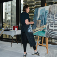 Marina-city-from-IBM-Tower-Chicago-Painting-by-Michelle-Auboiron-3 thumbnail