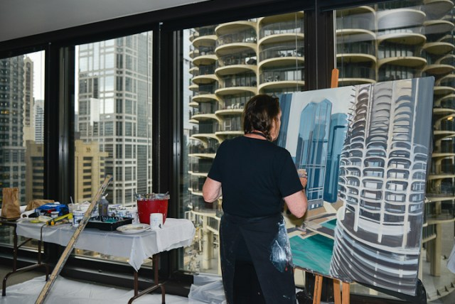 Marina-city-from-IBM-Tower-Chicago-Painting-by-Michelle-Auboiron-4
