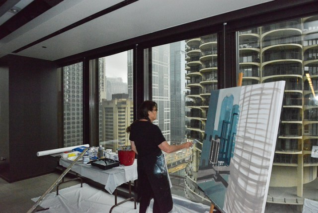 Marina-city-from-IBM-Tower-Chicago-Painting-by-Michelle-Auboiron