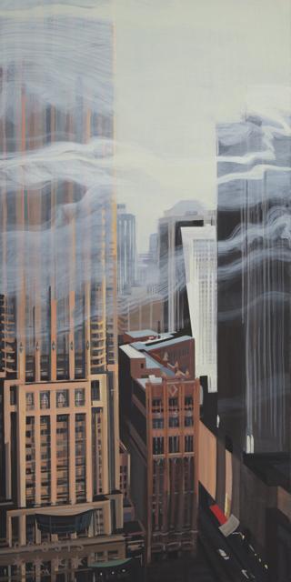 Peinture de Chicago par Michelle AUBOIRON - Painting of Chicago by Michelle AUBOIRON -Water Place from the studio