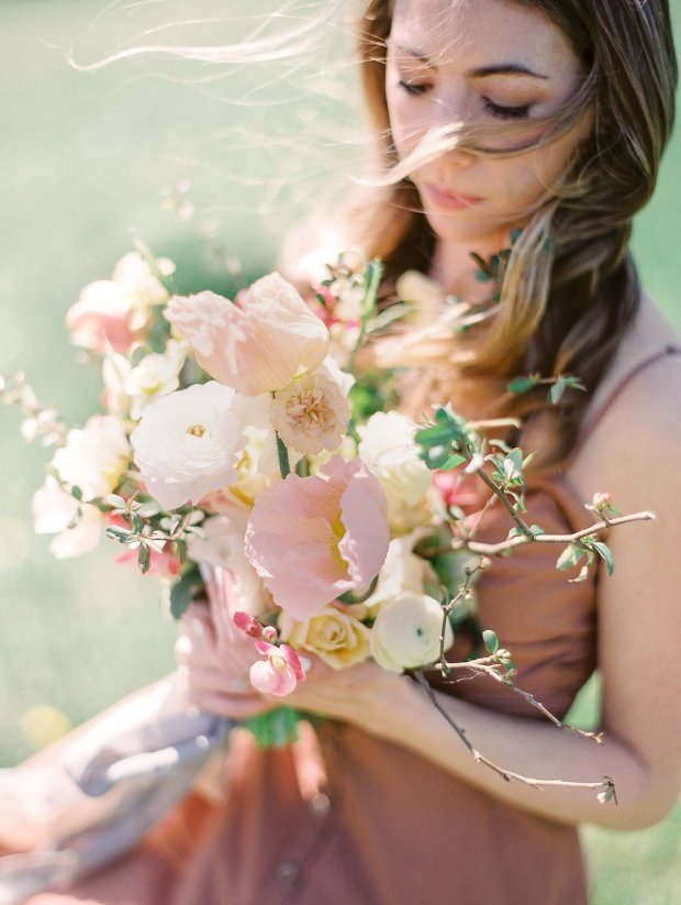 romantic fine art engagement session, gorgeous spring florals