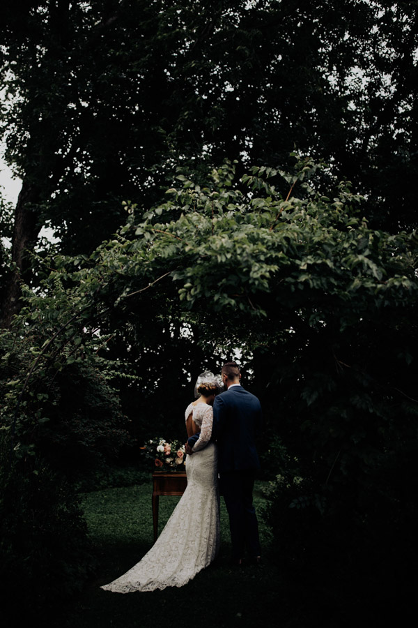 wedding ceremony in the garden at Bryn Du Mansion
