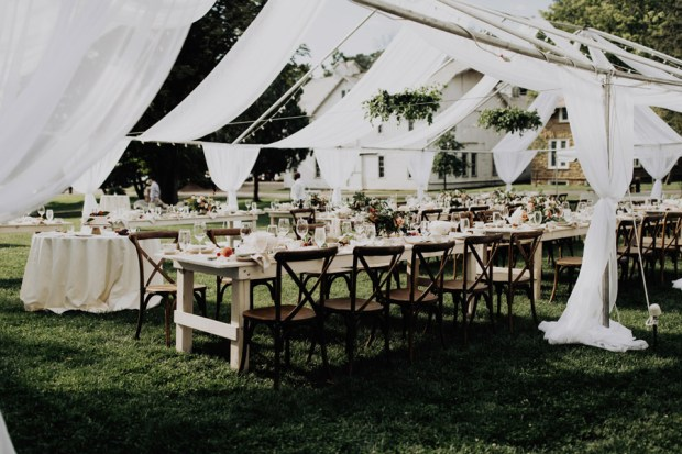 open air silk tent reception for a summer wedding in columbus Ohio