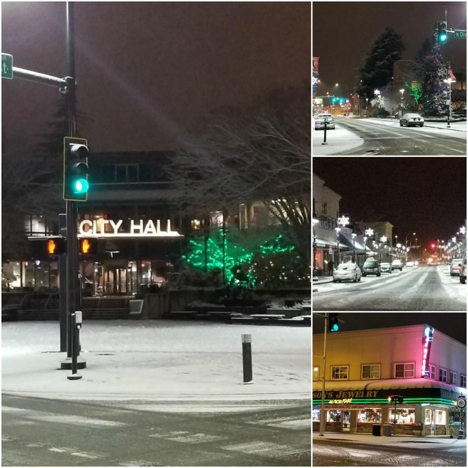 downtown auburn at night, snow auburn, city hall, auburn city hall