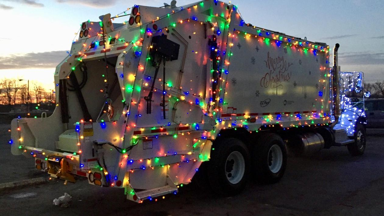 holiday garbage pick up, christmas garbage truck, waste management